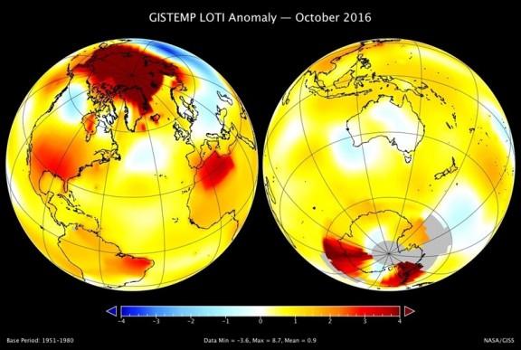 Mapa de aumento de temperaturas