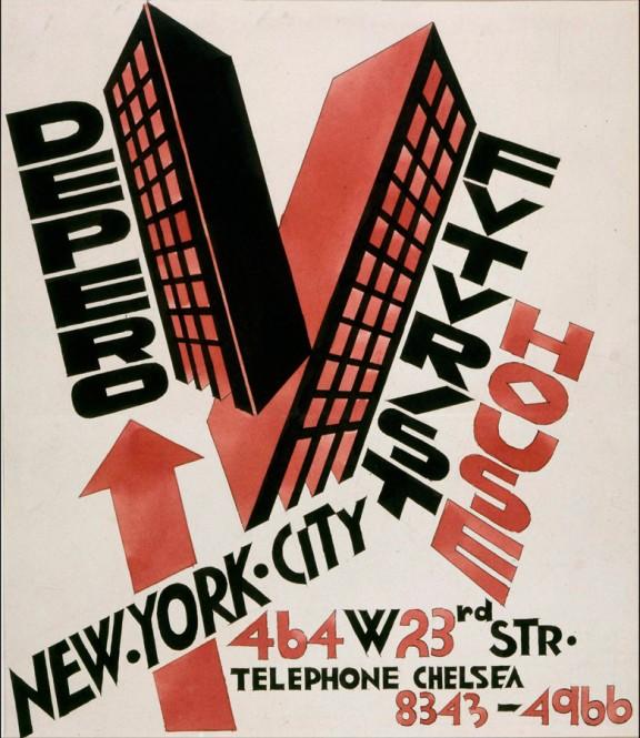 Cartel de expo de Depero en Nueva York