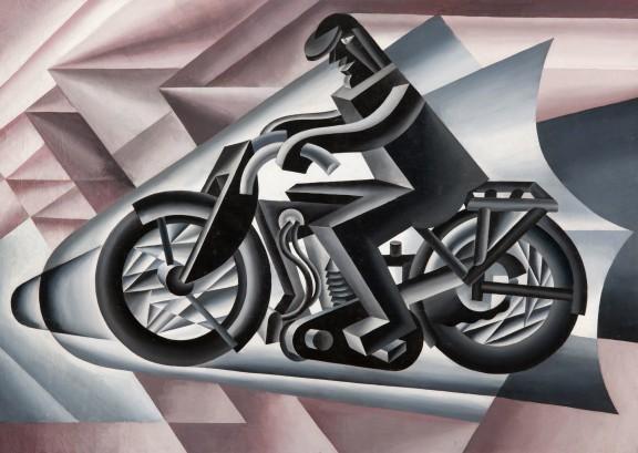 Motociclista, solido in velocitá - F. Depero