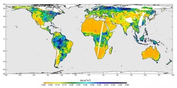 Mapa humedad SMAP - NASA