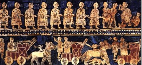 Estela babilonia con carros de cuatro ruedas