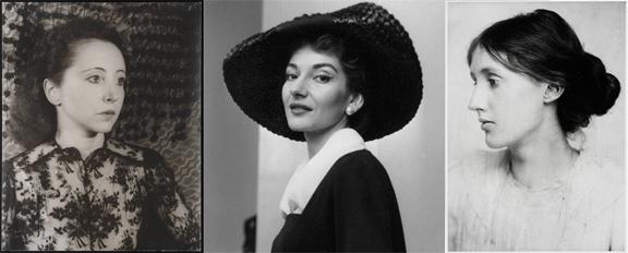 Anaïs Nin, Maria Callas y Virginia Woolf