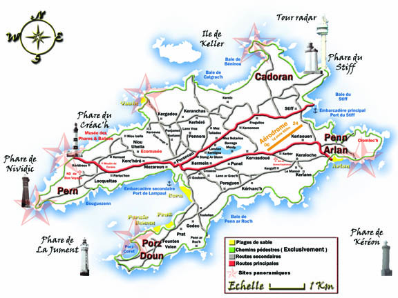Mapa de la isla de Oussant