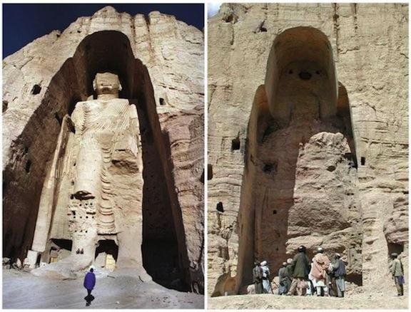 Antes y después de la destrucción de uno de los Budas