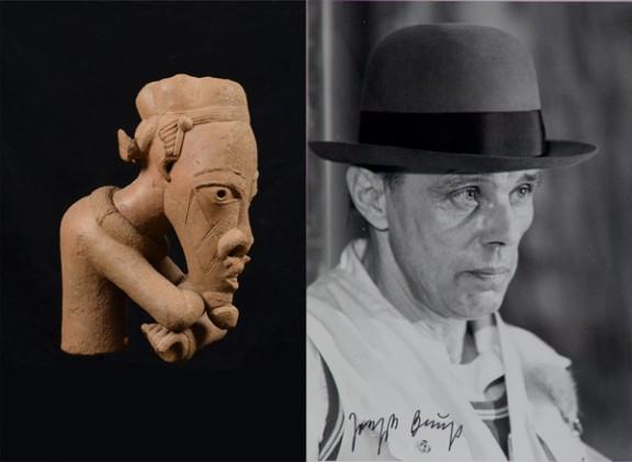 Imágenes Joseph Beuys, Output #32 1978 y Torso de hombre de brazos cruzados, Nok, Nigeria, entre los siglos III y VII d.C